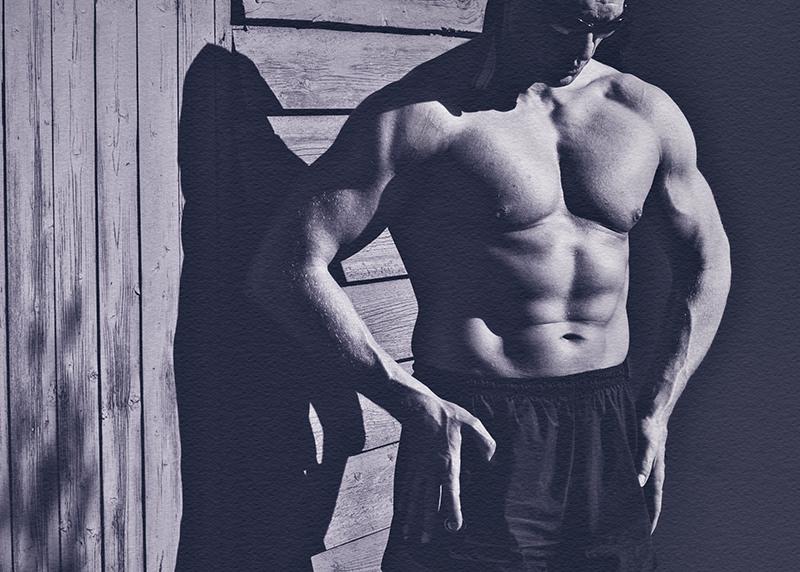 Bodybuilder in schwarz/weiss